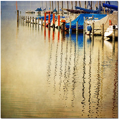 """At The Harbour"" (pixel_unikat) Tags: lake reflection germany bavaria boat harbour yacht explore chiemsee textured 500x500 vanagram updatecollection ucreleased magicunicornverybest magiayfotografia"