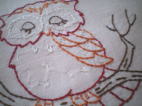 Vintage owl embroidery
