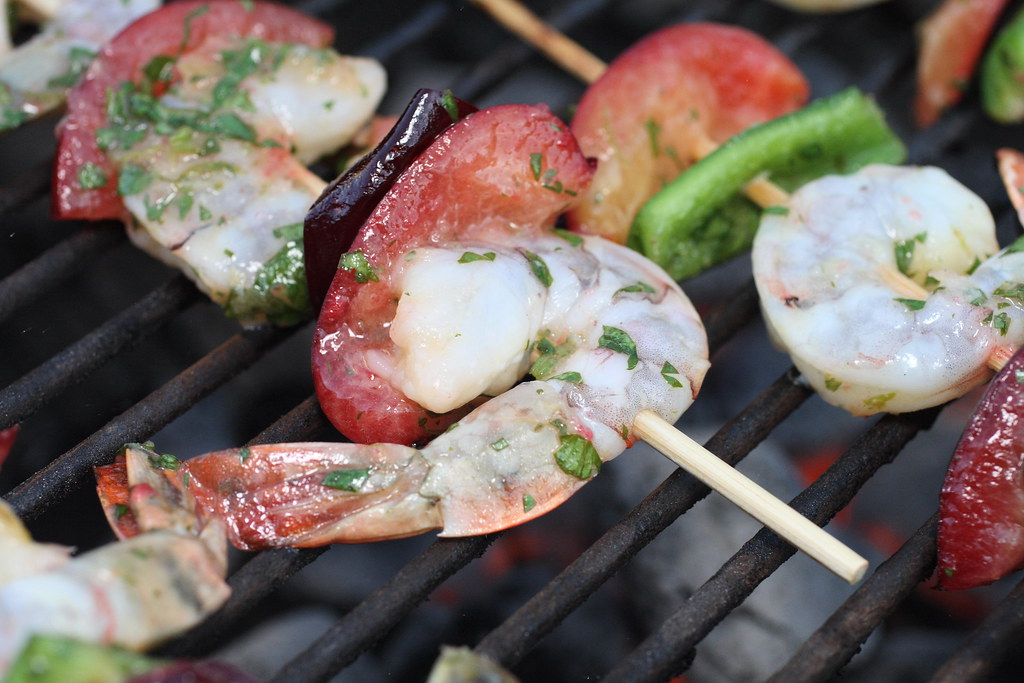 4842428205 395b6d1846 b d BBQ shrimp skewers with peppers and plums