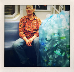 Chinese woman with plastic bottles (nataliebehring.com) Tags: poverty woman usa water brooklyn trash underground bottle garbage bottles poor tube plastic recycle immigration immigrant ftrain urbanpoor chinesewoman subwaymtanewyorkchinese