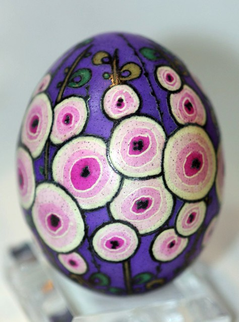 Pink and Purple Hollyhocks Floral Pysanky on Chicken Egg