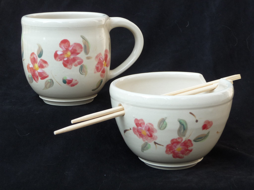Cherry Blossom mug and Noodle Bowl
