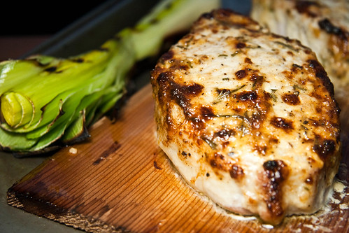 Garlic & Rosemary-Slathered Planked Pork Chops with Grilled Leek