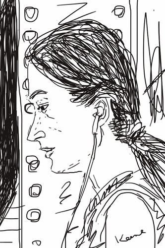 Woman in subway station (iPhone sketch)