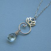 Lotus Flower and Prehnite Necklace