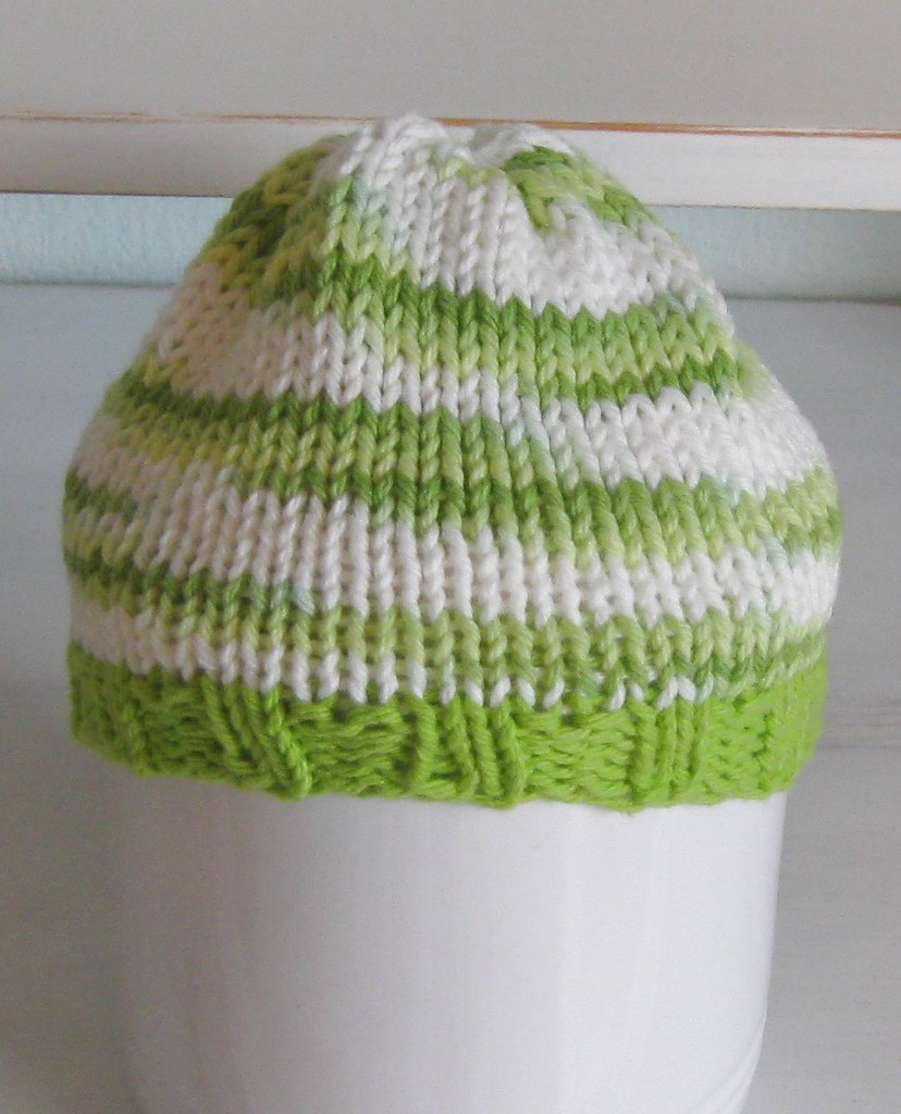 BABY HAT- Lime Green- White
