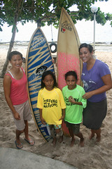 Two donated boards for two local surfer girls