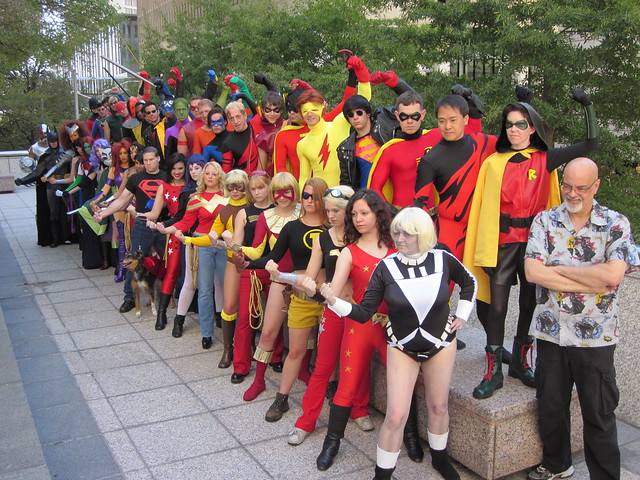 Teen Titans cosplay photo shoot with George Perez at Dragon*Con 2010