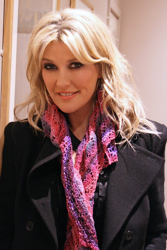 Lisa Fitzpatrick modeling Suzanne McEndoo's lace mini shawl