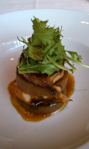 Foie gras and eel napoleon