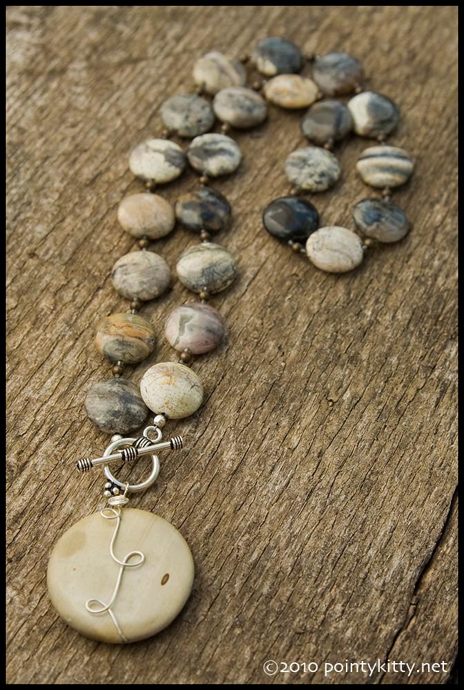 Save Me From the Tears - sterling, silver leaf jasper, Bali silver and landscape jasper necklace