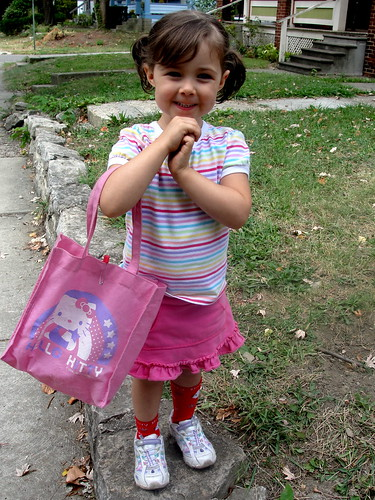 Olive's first day of preschool