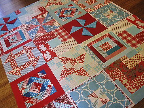 Red & Aqua Sampler Quilt Top