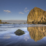 Reflection of Haystack Rock at Cannon Beach - HDR