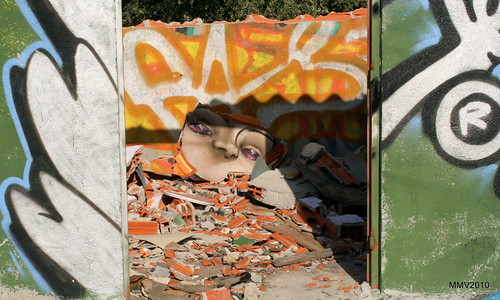 paseo por la afueras de Valdemoro: grafiti destrozado