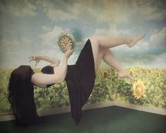 Explored! (KatB Photography) Tags: sky selfportrait black green art field dark surreal floating levitation manipulation sunflowers cloth explored totalawesomeness