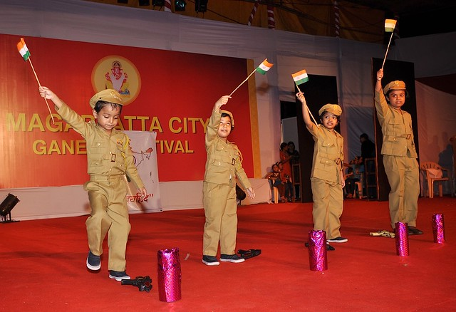 We are very patriotic - children performing at the Magarpatta City Ganesh Festival
