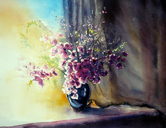 Floral watercolourist challenge , sweetpeas (BILBOV.(Lorus Maver)) Tags: light stilllife flower art floral painting artwork sweetpea watercolour challenge luminosity lorusmaver