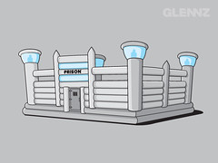 Bouncy Prison (Glennz Tees) Tags: art nerd fashion illustration design funny geek drawing humor cartoon tshirt illustrator draw popculture tee vector ai apparel adobeillustrator glenz glennjones glenjones glennz gleenz glennnz