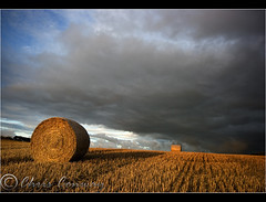 Dark Skies... (Digital Diary........) Tags: uk clouds landscape sthelens haybales merseyside darkskies chrisconway goodlight billinge
