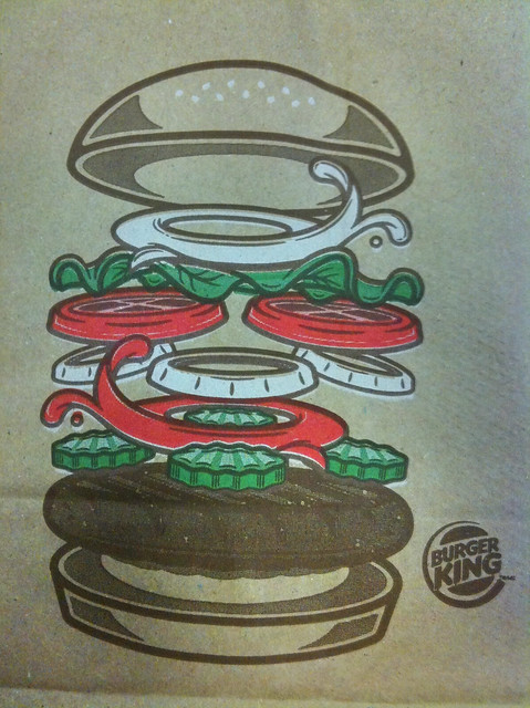 Exploded burger view on a Burger King bag