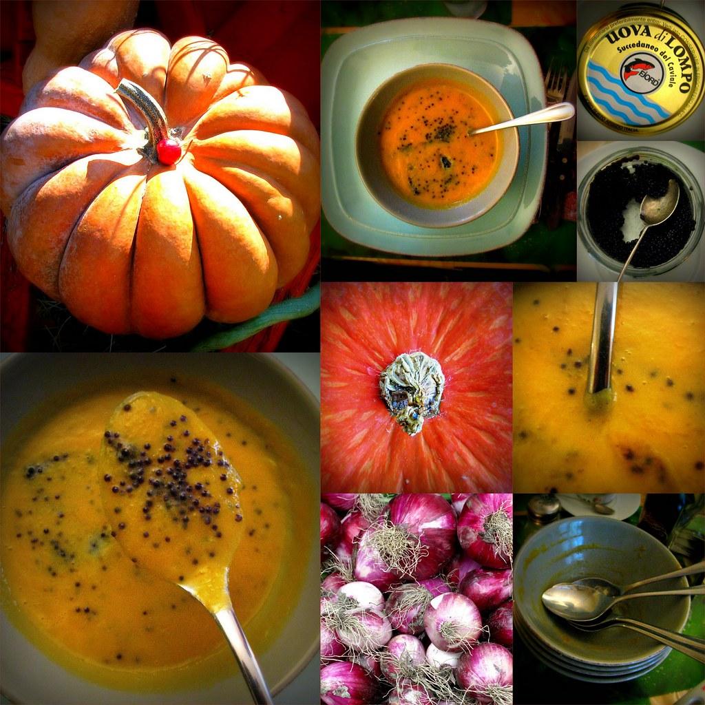 Zuppa di zucca cipolle e uova di lompo - Pumpkin, Red Onions, and Lumpfish Roe Soup