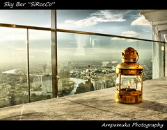 "Sky Bar ""SiRocCo"" (AmpamukA) Tags: city travel sky tower lamp bar thailand happy fire view state bangkok thai silom sirocco      ampamuka  tripleniceshot"