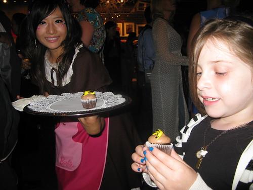 Vivian enjoying a Warhol banana cupcake by Caroline on Crack