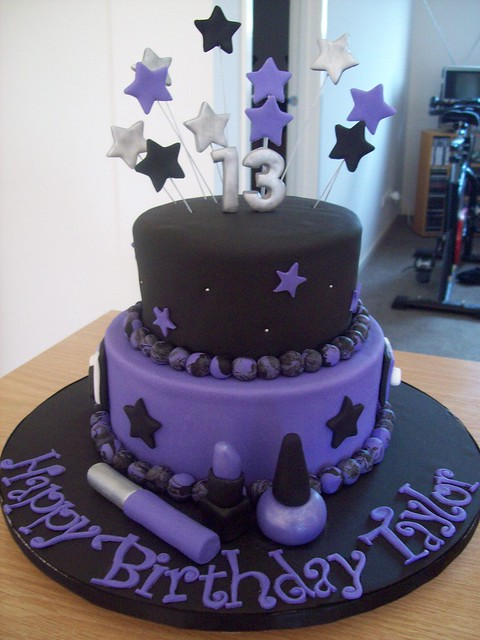 This cake was made for a 13th birthday celebration. 13th Birthday cake. Choc mud cakes. Made for a teenager who wanted purple