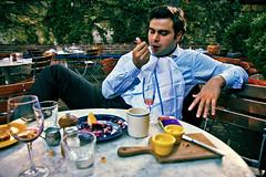Earthly Delights (Mike Dillingham) Tags: nyc portrait eastvillage newyork man bar canon eos manhattan napkin september patio suit bowery brunch q 2010 gadren qusai canonefs1755mmf28isusm 40d