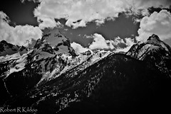 From Below Grand Teton (karmascenic) Tags: blackandwhite mountains clouds landscape nationalparks grandteton teatons wyomingtrip robertkildoo