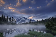 a shuksan morning - UPDATE (Dene' Miles) Tags: world pictures camera morning trees sky usa mist lake snow color reflection art nature water beautiful grass fog night clouds composition forest photoshop sunrise lens landscape creativity outdoors photography volcano evening amazing interesting nikon scenery flickr unitedstates artistic photos outdoor hiking tripod creative scenic picture dramatic surreal wideangle hike explore creation photographs filter photograph pacificnorthwest northamerica dreamy washingtonstate polarizer majestic westcoast frontpage pnw touristattraction 2010 northcascades shuksan cascademountains mountainrange mountshuksan picturelake d90 mountbakernationalpark denemiles
