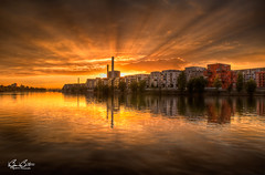 Sunset on the Main HDR (Bjrn Burton) Tags: sunset sun reflection water buildings river germany landscape deutschland nikon bravo cityscape hessen waterfront angle frankfurt main wide hdr frankfurtammain 18mm mainriver d90 bestofmywinners bjornburton hrdspottingcom stunningphotogpin
