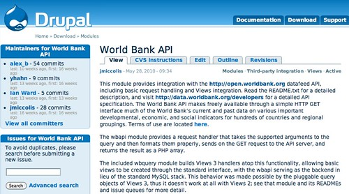 Two Drupal modules make it easy to create applications that use the World Bank's data