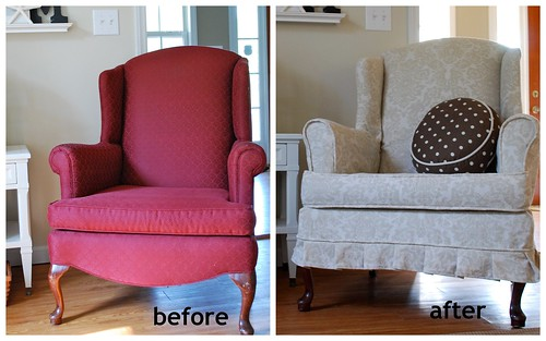 Wing Chair before and after