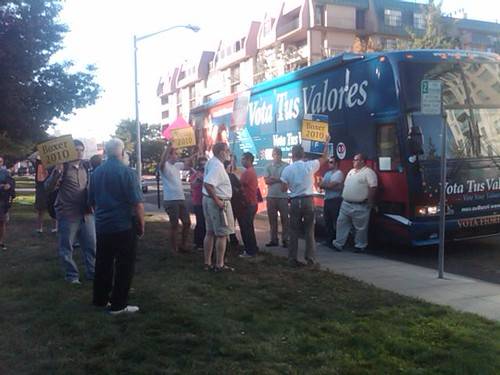 Protesters greeing the VotaBus in San Mateo