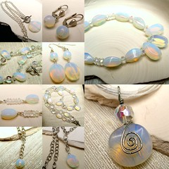 Opalesce Collection Collage (TangoPig) Tags: blue wedding sea party moon white classic glass collage modern silver spiral gold bride necklace beads wire glow crystal designer handmade unique flash formal jewelry special jewellery chain collection clear independent indie bracelet photomontage manmade bead translucent handcrafted earrings unusual etsy bridal curb milky opal occasion sleek beaded pendant moonstone bridemaids gemstone wirework leverback handassembled facted