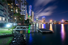 (Pawel Papis Photography) Tags: city bridge trees light vacation sky holiday reflection water night clouds reflections river lights pier jetty australia wideangle explore highrise queensland frontpage dri bulding goldcoast dynamicrangeincrease residentialbuilding digitalblending circleoncavill blurclouds