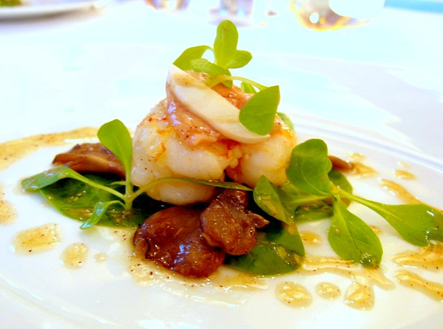 Langoustine: Seared Langoustine, Mache, Wild Mushroom Salad; White Balsamic Vinaigrette