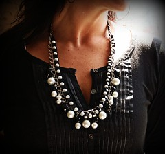 Desdemona Beaded Ribbon and Chain Necklace (twillypop) Tags: blackandwhite fashion baubles ribbonnecklace twillypopportia2