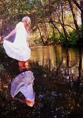 (bellejune) Tags: reflection fashion river hair hand magic tagged fairy whitedress bellejune