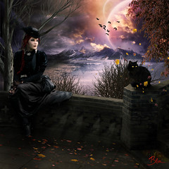 melancholy (Claudia Mueller) Tags: moon leaves photoshop gothic da deviantart fantasty