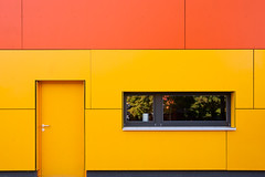 Yellow & Orange House (ropmann) Tags: door trees orange house window colors yellow germany sony kita karlsruhe refelction a700 lebenshilfe