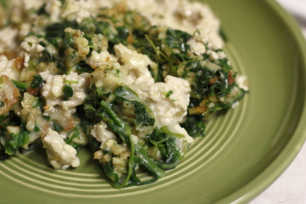 Stuffing & Spinach Bake - plate