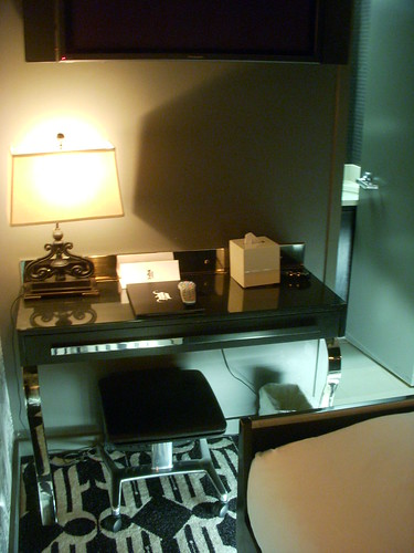 Desk in bedroom, Night Hotel