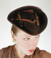 40s Vintage Brown Felt Tilt/Doll Tricorn Hat (denisebrain) Tags: dollhat tricorn tilthat 40shat
