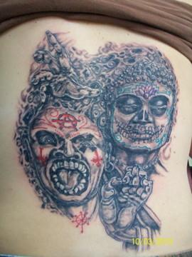 custom, dios de los muertos, yin/yang, chaos/tranquility tattoo