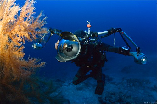 Kurt Amsler at work photographing Black Corals at 45 meters (145 feet)