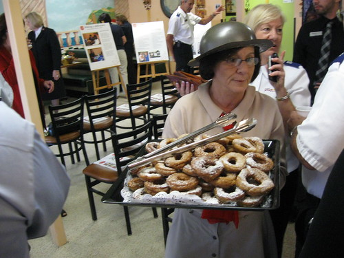 Original recipe (World War I) doughnuts being served at Ft Myers Salvation Army ribbon cutting ceremony