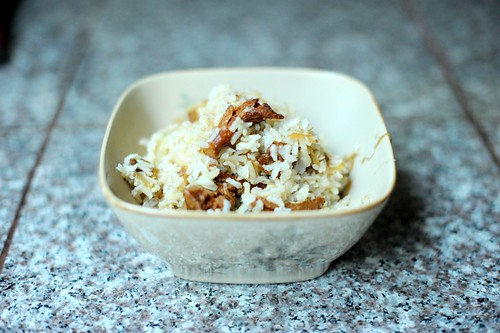 rice with caramelized onions and chanterelles